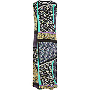 Girls black print maxi dress