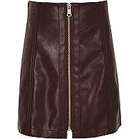 Girls dark purple leather look zip mini skirt