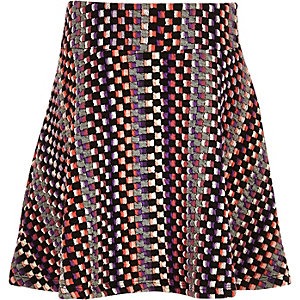 Girls pink checked skater skirt