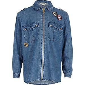 Girls blue badge oversized shirt