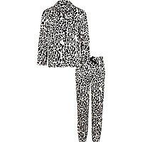 Pyjama mit Leoprint in Rosa