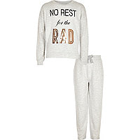 Girls grey metallic print pyjama set