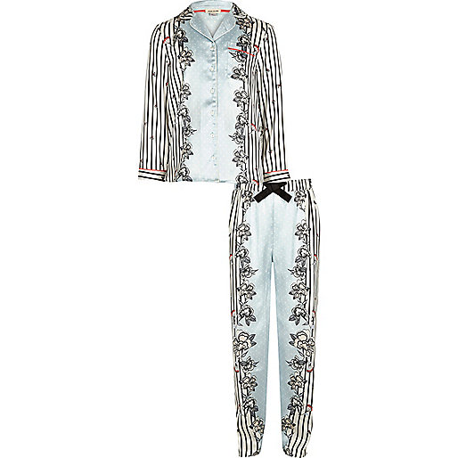 Girls blue satin print pajama set