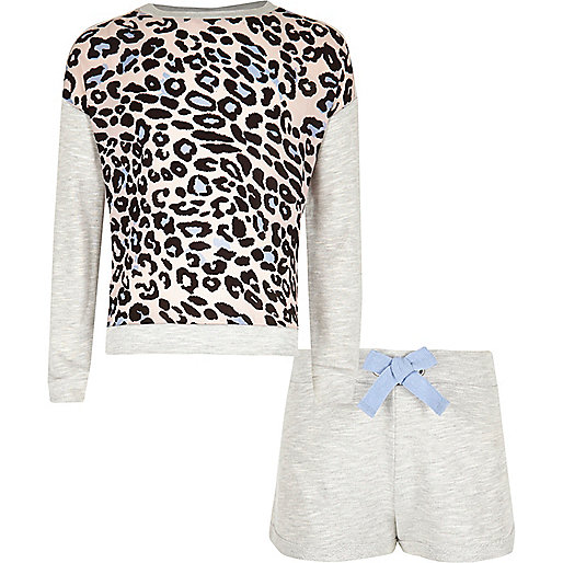 Girls grey animal print shorts pyjama set