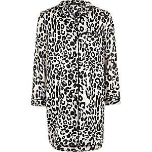Chemise de nuit imprimé léopard rose pour fille