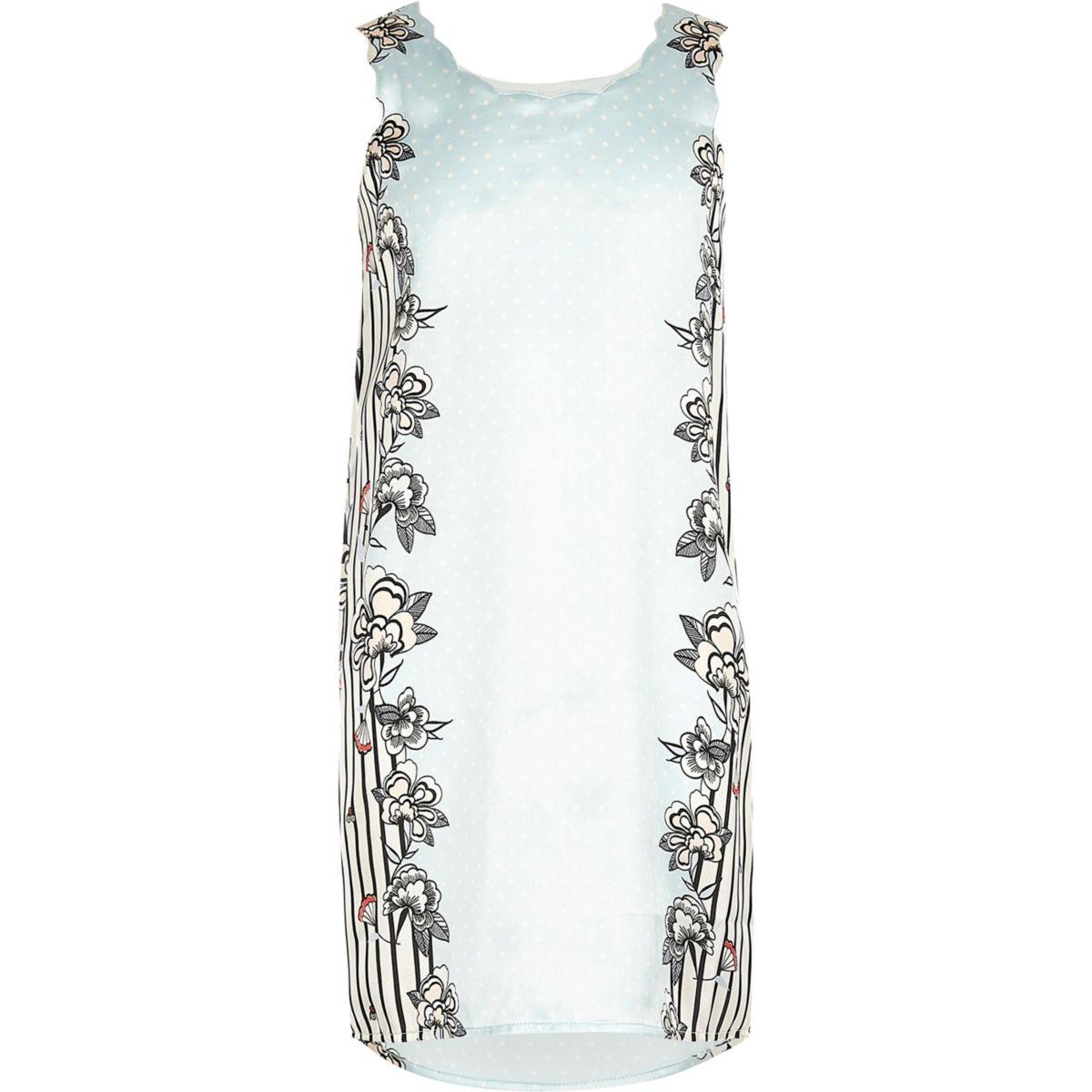 Girls blue border print night dress