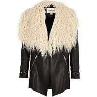 Girls black Mongolian faux fur collar jacket