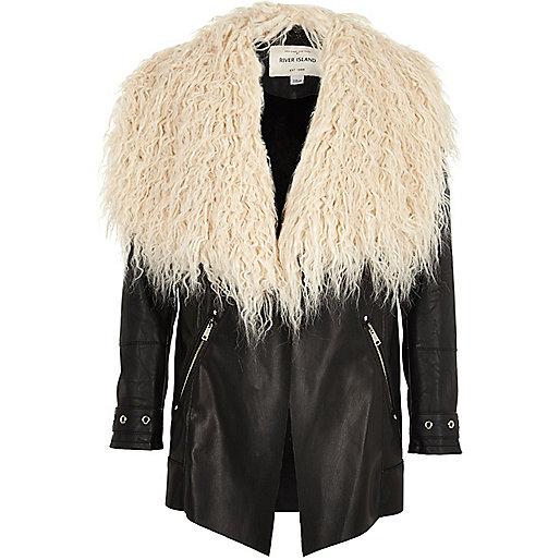 Girls black Mongolian faux fur collar jacket