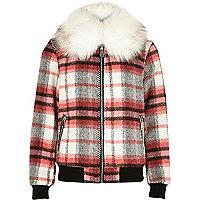Girls red check collar bomber jacket