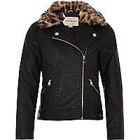 Girls black leopard print trim jacket