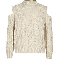 Girls cream cable knit cold shoulder sweater