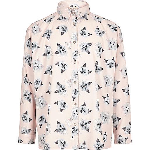 Girls pink print oversized shirt