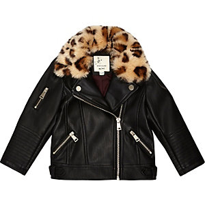 Mini girls leopard print tri biker jacket