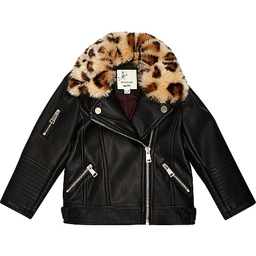 Mini girls leopard print tri biker jacket