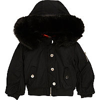 Mini girls black hood padded bomber jacket