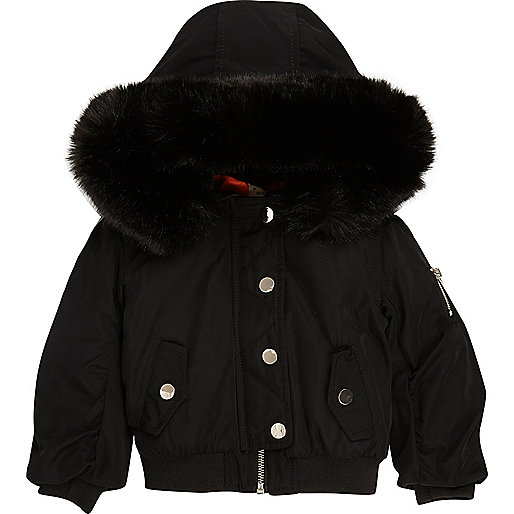 Mini girls black hood padded bomber jacket