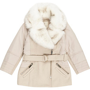 Mini girls pink faux fur trim padded coat