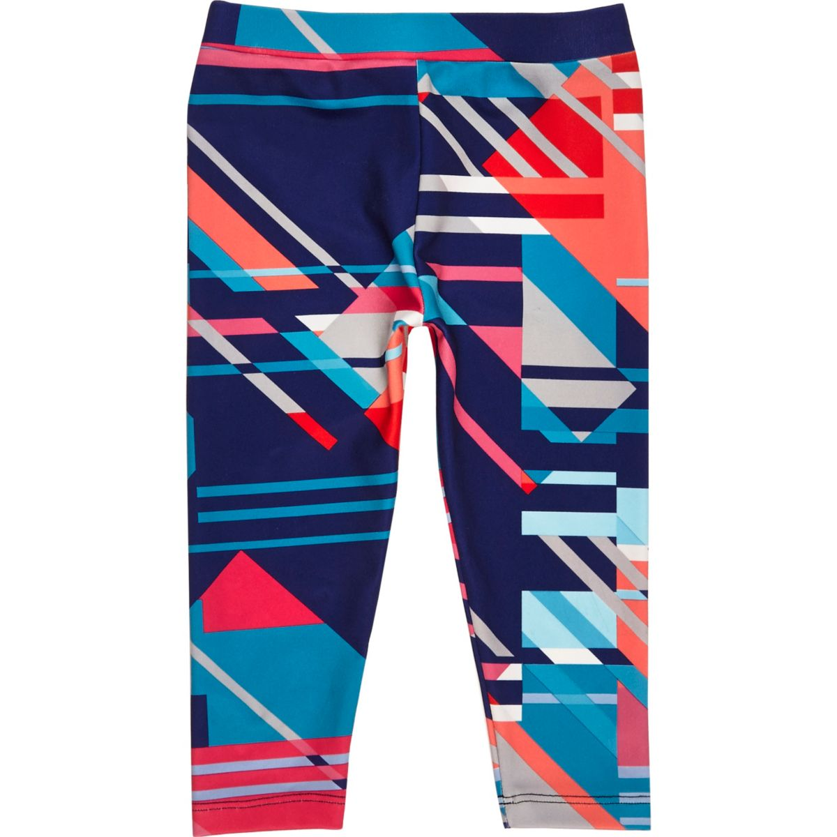 Mini girls red geometric print leggings