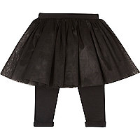 Mini girls black tutu legging combo