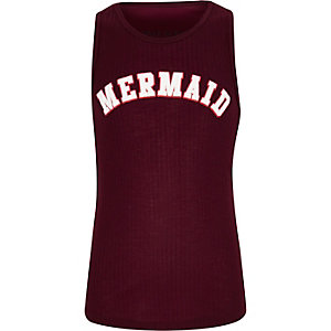 Girls burgundy 'Mermaid' print ribbed vest