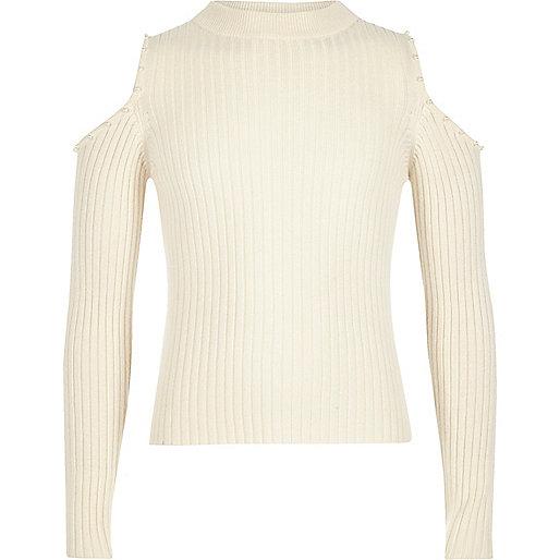 Girls cream pearl trim cold shoulder top