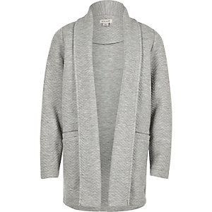 Girls grey knit jersey blazer