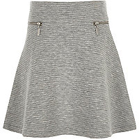 Girls grey textured zip skater skirt