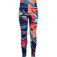 Girls blue synthpop print high rise leggings
