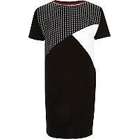 Girls black color block T-shirt dress