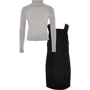Girls black pinafore dress set