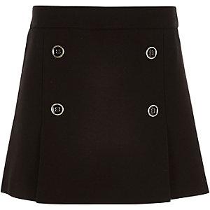Girls black pleated military skirt