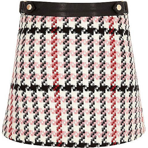 Girls pink check A-line skirt