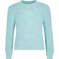 Girls blue knit zip back sweater