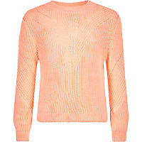 Girls coral knit zip back jumper