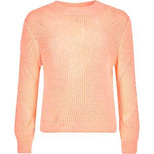 Girls coral knit zip back jumper