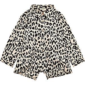 Mini girls leopard print shirt