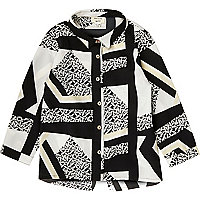 Mini girls black and white print shirt
