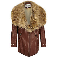 Manteau marron à col en fausse fourrure pour fille
