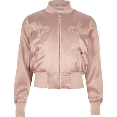Roze satijnen geborduurd bomberjack voor meisjes