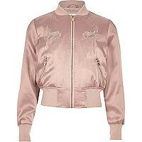 Girls pink satin embroidered bomber jacket