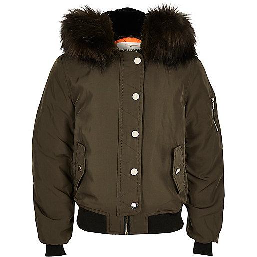 Girls Khaki Hooded Bomber Jacket - Coats & Jackets - Sale - Girls ...
