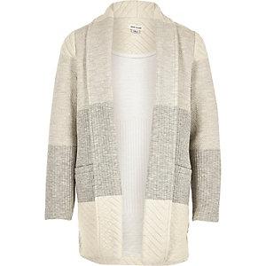 Girls grey knit color block jersey blazer