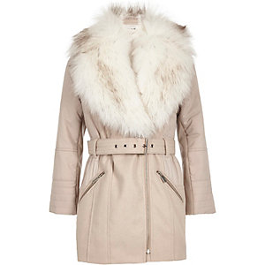 Girls light pink faux fur padded jacket