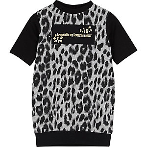 Mini girls leopard print T-shirt dress