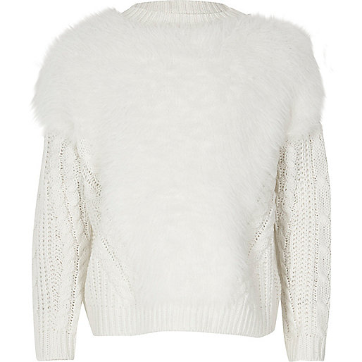 Girls white fluffy knit Christmas sweater