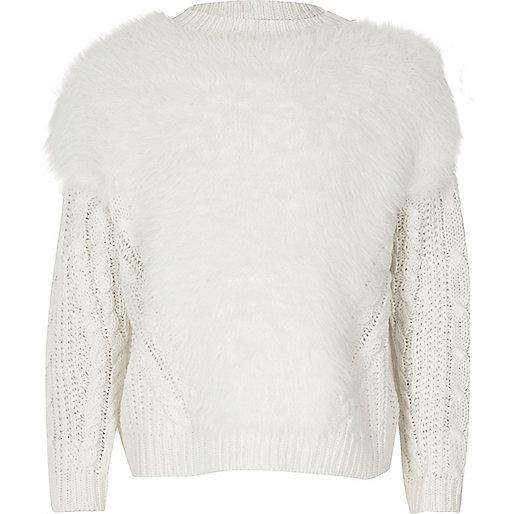 Pull de Noël en maille duveteuse blanc pour fille