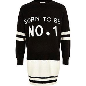 Girls black knit 'No1' jumper dress