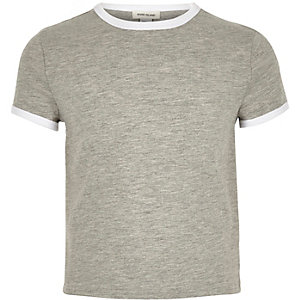 Girls grey contrast tipped t-shirt
