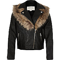 Girls black faux leather biker jacket