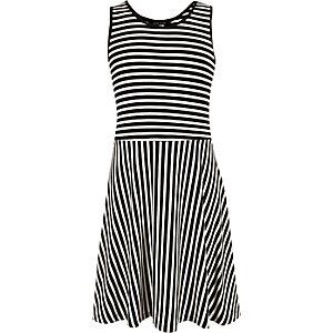 Girls black and white stripe skater dress